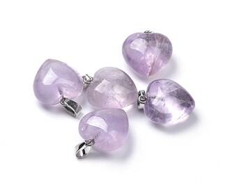 Lavender Amethyst Heart Gemstone Pendant | Sold Individually | Size 20x20x12mm