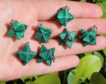 Malachite Merkaba Pendant | 3D Star Shape | Charka Healing Polygonal Focal Bead | Manmade Gemstone Pendant | Sold by Piece | Size 13x20mm
