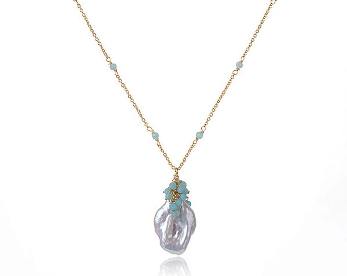 Baroque Pearl Chain Necklace with Blue Amazonite | 18K Gold Plated Chain | Length 16 Inch