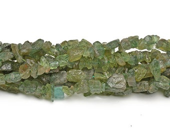 Raw Green Apatite Nuggets Beads | Drilled Rough Natural Gemstone Loose Beads | Sold by 15 Inch Strand | Size 6x8 | Hole 0.8mm