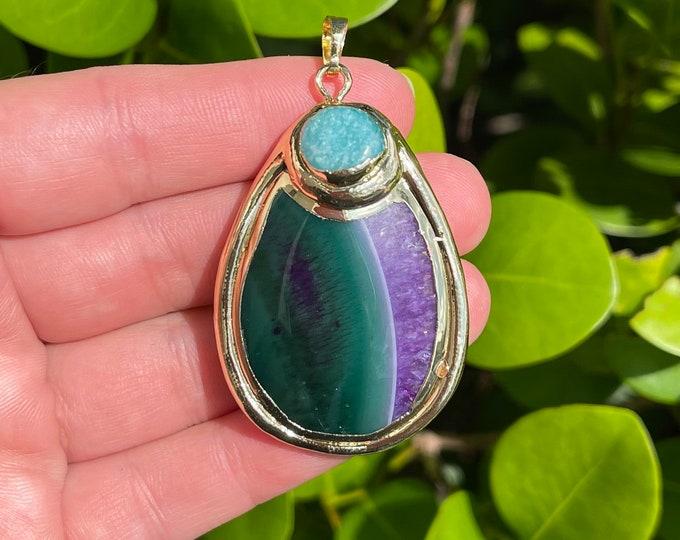Green Purple Agate Slab Gemstone Pendant Gold Plated Focal Bead Size 32x46-34x48mm