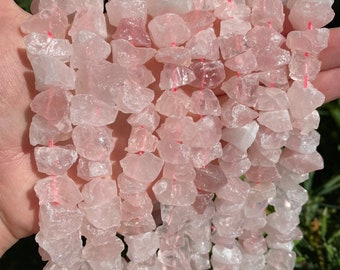 Raw Rose Quartz Nuggets Beads   Drilled Rough Natural Gemstone Loose Beads   Sold by 7 Inch Strand   Size 6~12mm