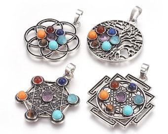 7 Chakras Gemstone Pendant | Chakra Healing Pendant | Silver Brass | Sold by Piece | Size 36-38x30-32x5mm | Hole 5x8mm