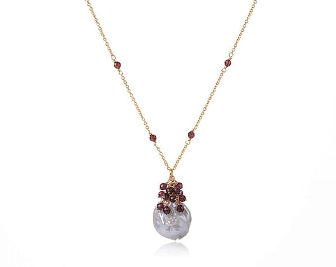 Baroque Pearl Chain Necklace with Red Garnet | 18K Gold Plated Chain | Length 16 Inch