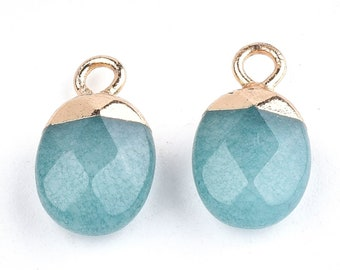 Blue Jade Gemstone Pendant | Faceted Oval Loose Beads | with Iron Findings | Gold Edged | Sold by Pkg 5 Pcs | Size 14~15x8x5~5.5mm