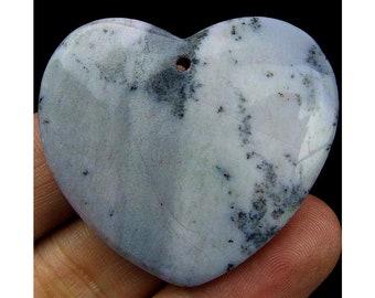 Natural Scenery Jasper Heart Pendant Focal Bead 44x40x7mm T86051