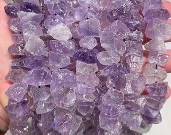 Lavender Amethyst Nuggets Beads   Drilled Raw Natural Gemstone Beads   Sold by 7 Inch Strand   Size 8-17mm