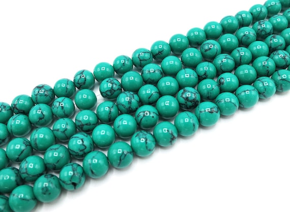 10MM MATRIX TURQUOISE GEMSTONE BLUE STRIPE ROUND 10MM LOOSE BEADS 15.5/""