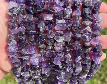 Amethyst Nuggets Beads | Drilled Raw Natural Gemstone Beads | Sold by 7 Inch Strand | Size 6-12mm