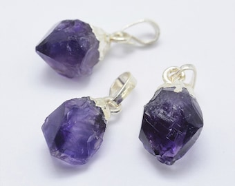 Amethyst Pendant | Purple | Silver Edged | Brass | Free form | Sold by Piece | Size 18x11x9mm | Hole 3x5mm