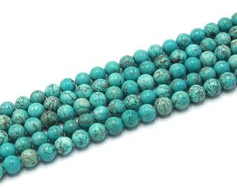 "8mm Blue Turquoise Beads Round Polished Natural Gemstone Loose 15.5"" Full Strand"