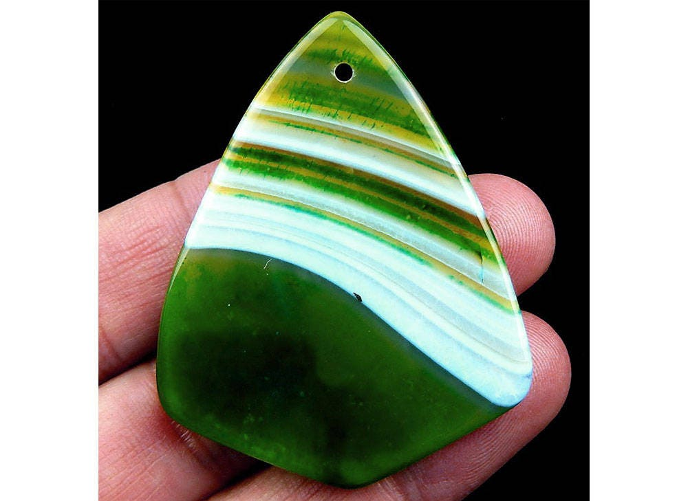 Green stripes agate shield pendant focal bead 52x40x7mm aloadofball Image collections