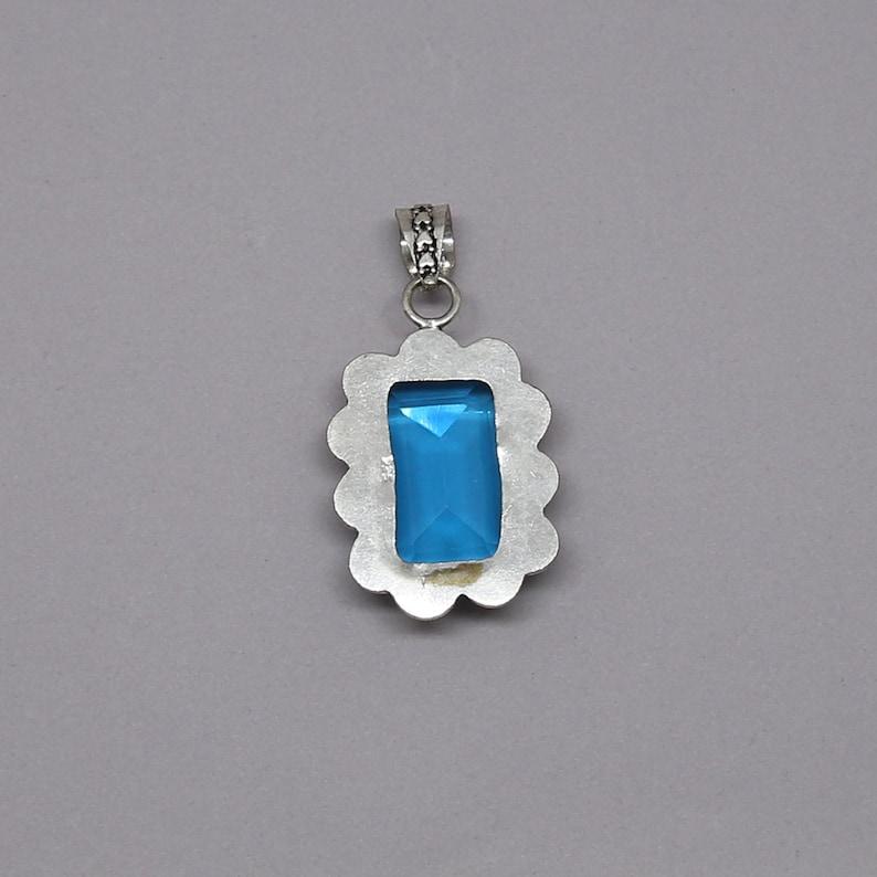 Faceted Blue Quartz Vintage Style .925 Solid Sterling Silver Pendant