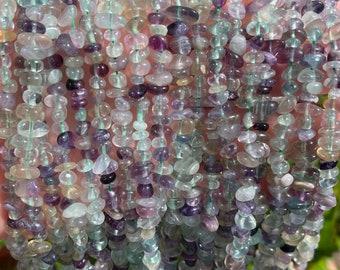Rainbow Fluorite Chips Beads | Natural Gemstone Beads | Sold by 15 Inch Strand | Size 5~9mm | Hole 0.8mm