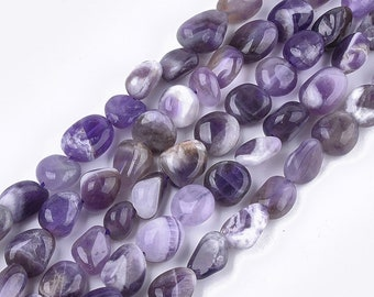 Amethyst Nuggets Beads   Grade A   Natural Gemstone Loose Beads   Sold by 15 inch Strand   Size 8~19x8~12x4~8mm   Hole 0.8mm