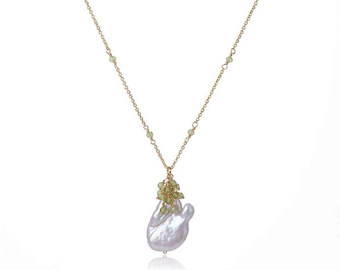 Baroque Pearl Chain Necklace with Green Peridot | 18K Gold Plated Chain | Length 16 Inch