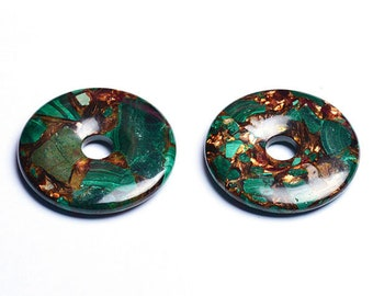 Green Malachite and Bronze Donut Pendant | Natural Gemstone Pendant Loose Bead | Sold by Piece | Size 40mm