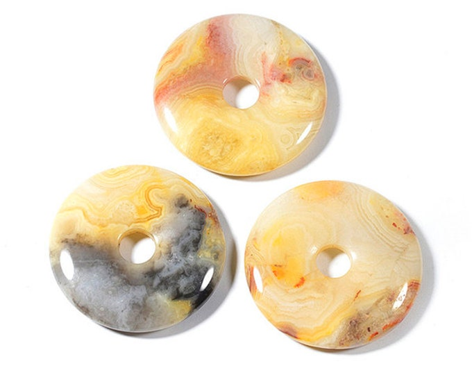 Crazy Lace Agate Donut Pendant | Natural Gemstone Pendant Loose Bead | Sold by Piece | Size 40mm
