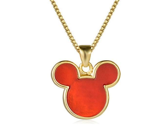Red Agate Gemstone Mouse Head Pendant Chain Necklace | 18K Gold Plated Brass | Length 17.7 Inches (45cm) | Pendant Size 13x15mm