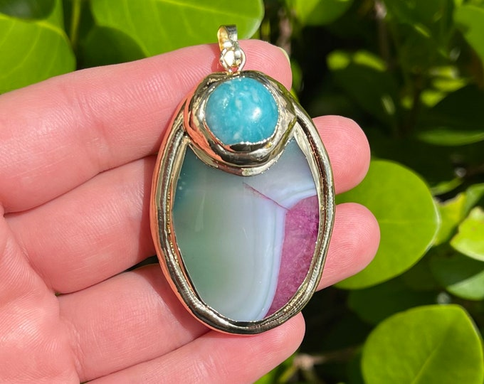 Green Pink Agate Slab Gemstone Pendant Gold Plated Focal Bead Size 32x46-34x48mm