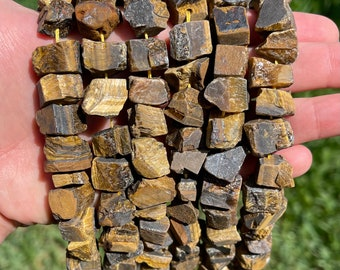 Natural Tiger Eye Nuggets Beads   Drilled Raw Natural Gemstone Loose Beads   Sold by 7 Inch Strand   Size 6~15mm