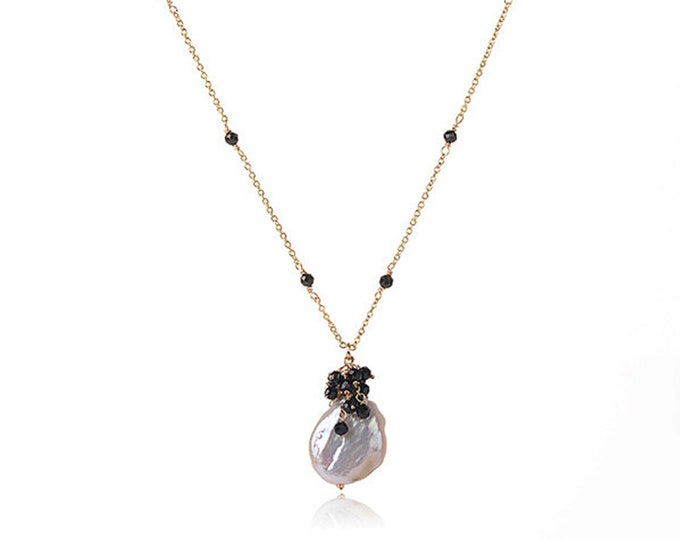 Baroque Pearl Chain Necklace with Black Tourmaline | 18K Gold Plated Chain | Length 16 Inch