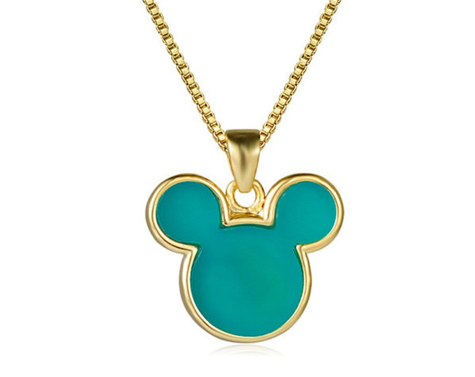 Blue Jade Gemstone Mouse Head Pendant Chain Necklace | 18K Gold Plated Brass | Length 17.7 Inches (45cm) | Pendant Size 13x15mm