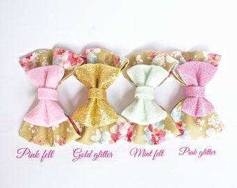 Floral Headbands, Pink Glitter Bow, Gold Glitter Bow, Pink Felt Bow, Mint Felt Bow, Girls Hair Clip