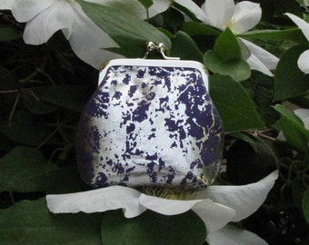 Purple and Silver Kiss Clasp Coin Purse with Nickel Frame