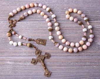 Catholic Heirloom Vintage Catholic Saint Teresa Rosary, Little Flower Rosary, Pink Opal Rosary, Women's Pink Rosary, Mothers Day Gift