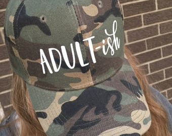 bfb1ac0a2bc Adult-ish Custom Hat-Camouflage with White Text-NEW!