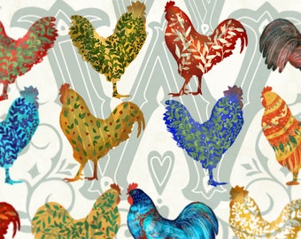 Bird Clipart, Rooster clip art, rooster png, farm birds clipart, birds clipart, Roosters Clipart, christmas clipart, New Year clipart, png