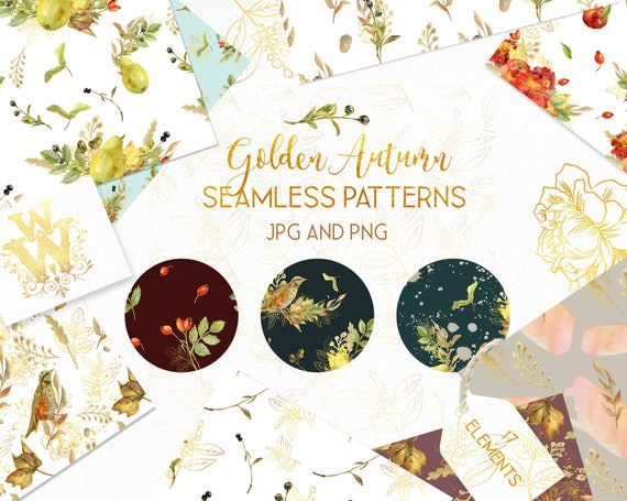 Rustic Fall Wedding Digital Paper Pack Thanksgiving Wallpaper Pattern Watercolor Royal Autumn Background Floral Planner Backdrop Clipart