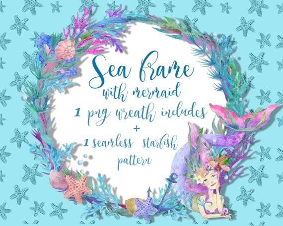 Watercolor kids mermaid frame clipart Sea ocean wreath clip | Etsy