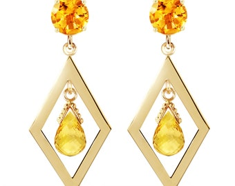 14K. solid gold  CHANDELIERS earrings WITH CITRINES
