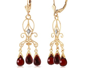 14k. gold chandeliers diamonds earring with garnets yellow gold white gold rose gold