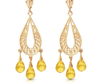 14K. Gold CHANDELIERS EARRING With Natural CITRINES rose gold, yellow gold, and white gold.