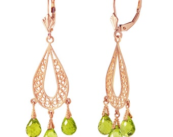 14K. gold CHANDELIERS earrings with NATURAL PERIDOTS rose gold, yellow gold, white gold.