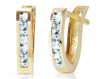 14K. Solid Gold Oval Huggie EARRING WITH AQUAMARINES Yellow Gold White Gold Rose Gold