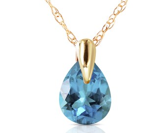 14K. Solid Gold Necklace With NATURAL BLUE TOPAZ rose gold, yellow gold, and white gold.