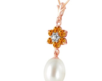 Gold Necklace With PEARL, CITRINES & DIAMOND
