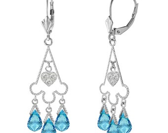 14K. Gold CHANDELIERS Diamonds Earring with BLUE TOPAZ yellow gold white gold rose gold 14k gold