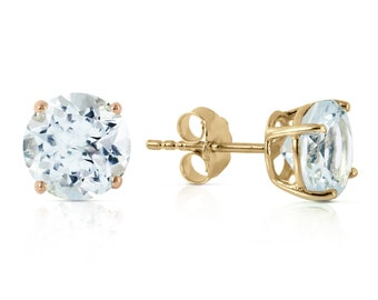 14K. gold stud  EARRING with NATURAL AQUAMARINES white gold rose gold yellow gold