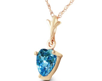Gold  NECKLACE WITH NATURAL Blue Topaz