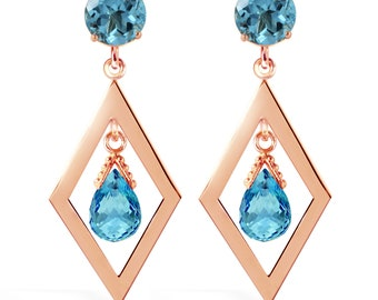 14K. gold CHANDELIERS earrings  with BLUE TOPAZ rose gold, yellow gold, and white gold.