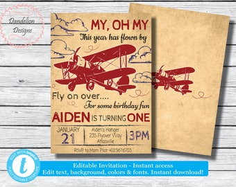Airplane Invitation Birthday Party Vintage Time Flies Invite INSTANT DOWNLOAD Editable Printable Digital