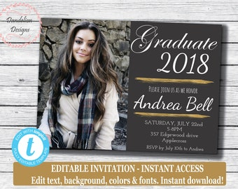 Graduation invitation template etsy graduation photo invitation instant download senior high school graduation graduation announcement printable editable invitation filmwisefo