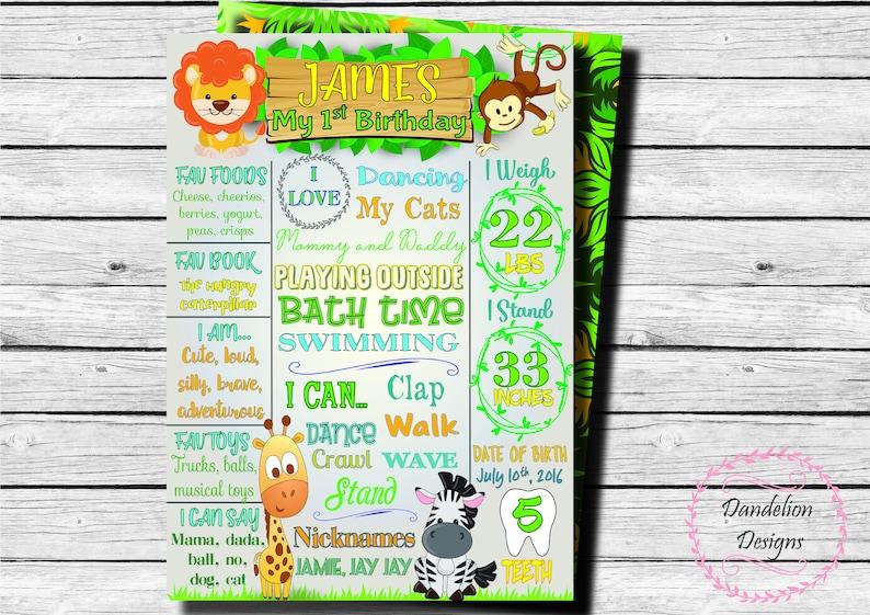 Girls First Birthday Blackboard Poster Seller Away Digital File