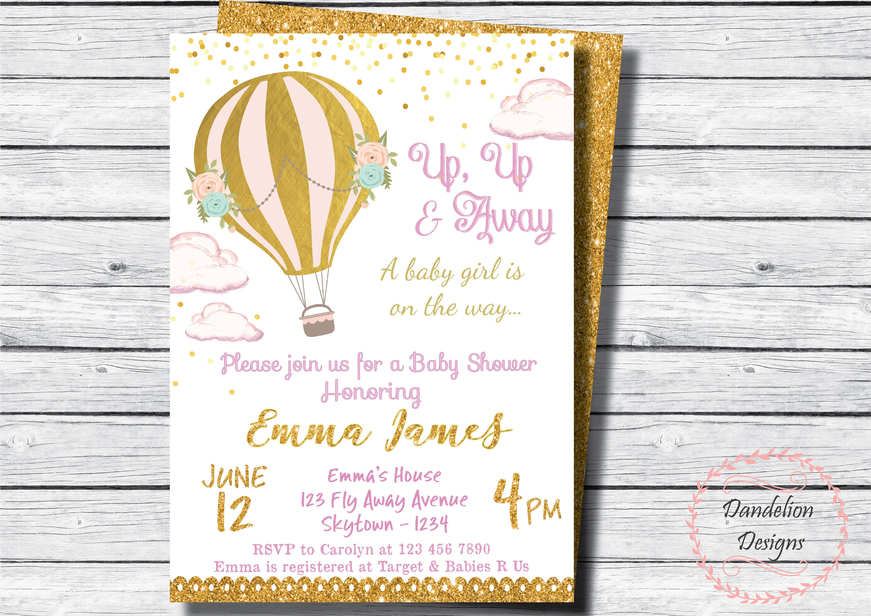 Heißluftballon-Einladung Babyparty laden   Etsy