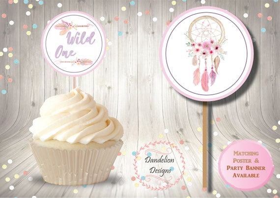 Boho cupcake topper dream catcher party decorations Boho ...